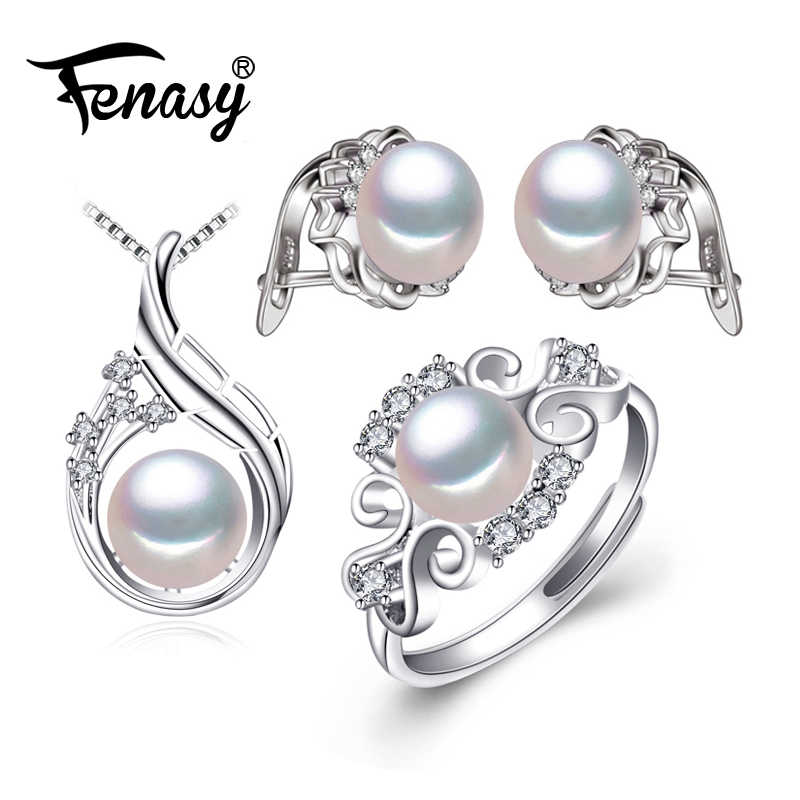 FENASY 925 Sterling Silver earrings with stones,natural Pearl jewelry sets for women,bohemian set stud earrings party rings