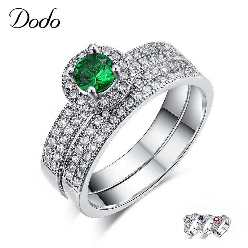 Green/Blue/Red Stone Ring Sets S925 Sterling Silver Rings Wedding Bague For Women Couple Ring For Lover Accessories Bijoux DR71 one piece sweet openwork footprint lover couple ring