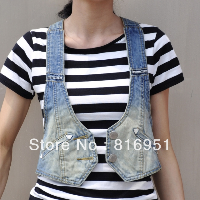 freeship jeans jacket women women's vest denim waistcoat jacket ...
