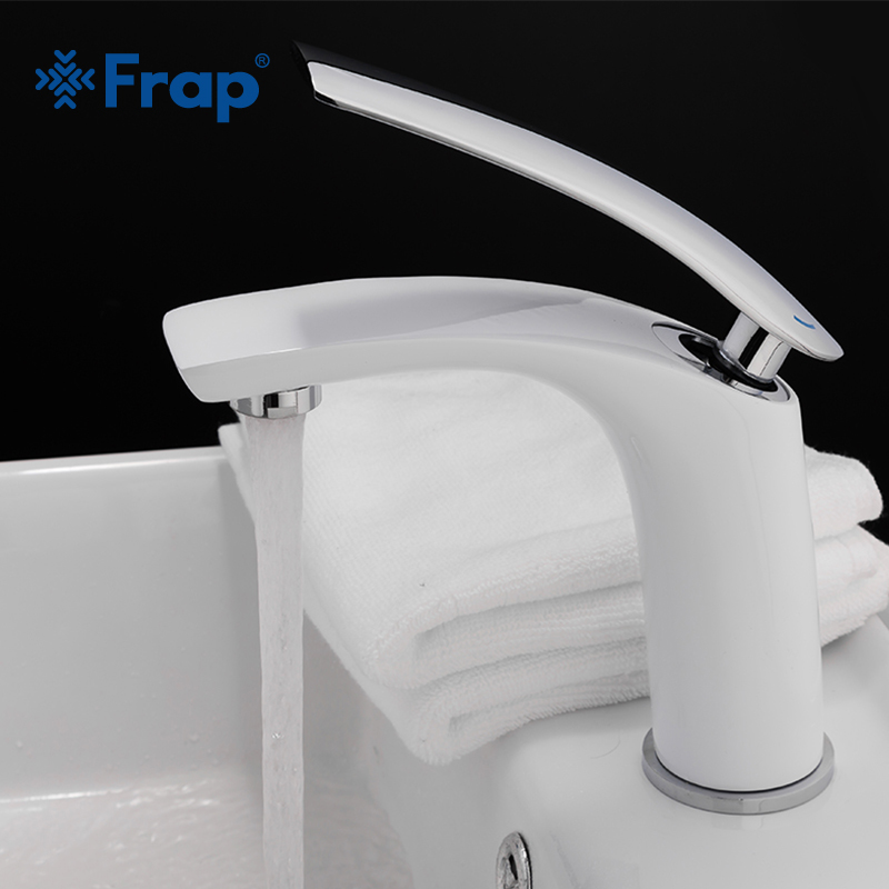 Frap New White Basin Faucet Cold and Hot Water Bathroom Tap Solid Brass Single Handle Water