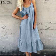 ZANZEA Bohemian Ruffle Dress 2021 Summer Casual Midi Dress Women's Spaghetti Strap Sundress Plus Size Female Beach Robe Femme