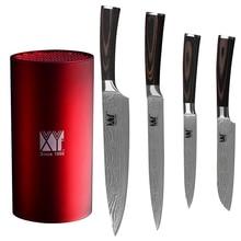 XYj Marke 5 stücke Set 7Cr17 Edelstahl Messer Utility Santoku Chef Fleischmesser Und Küchenmesser Stehen Heißer Verkauf Werkzeug halter