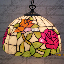 16 Inch Flesh Country Flowers Tiffany pendant light Stained Glass Lamp for Bedroom E27 110 240V