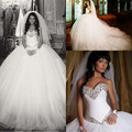Unique White Ball Gown Wedding Dress Love Sweetheart With Crystal Court Train Long wedding Gowns Off The Shoulder Bridal Dresses