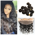 Ear To Ear Lace Frontal Closure With 3 Bundles Body Wave Full Frontal Lace Closure 13x4 Virgin Brizilian Human Hair Weave