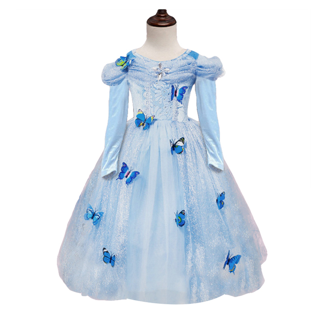 6973edf4ed6a Girl Dress 2017 Cinderella Princess long Sleeve for Kids Girls Party Dress  Christmas Girls Cosplay Costume