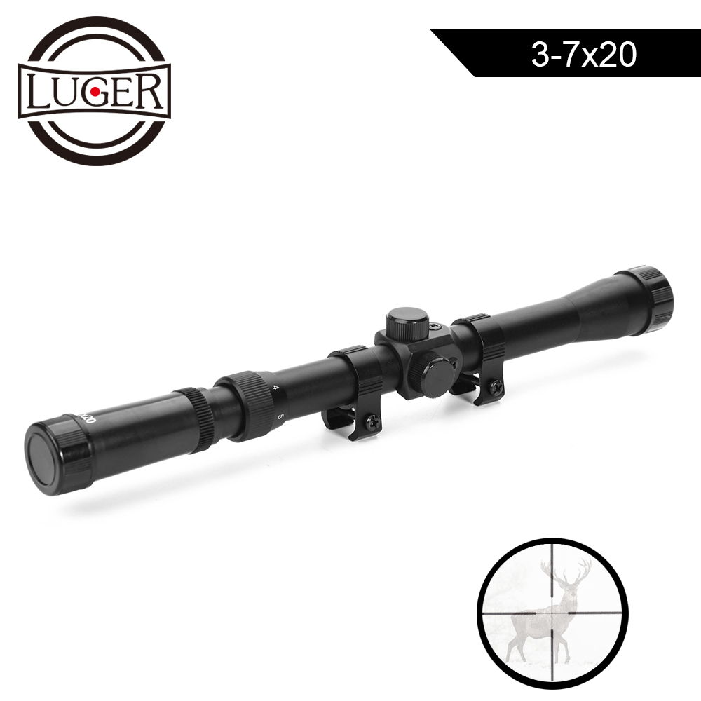 LUGER 3-7X20 Air Gun Rifle Optics Cross Reticle Scope Fit 11mm Rail Mounts Outdoor Telescopic Hunting Optical Sight Riflescope