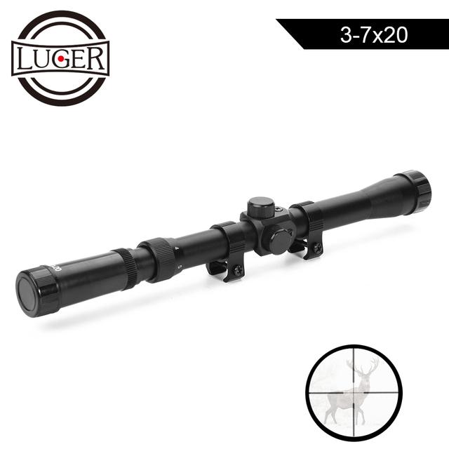 LUGER 3-7X20 Air Gun Rifle Optics Cross Reticle Scope Fit 11mm Rail Mounts Outdoor Telescopic Hunting Optical Sight Riflescope
