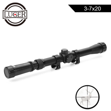 LUGER 3-7X20 Air Gun Rifle Optics Cross Reticle Scope Fit 11mm Rail Mounts Outdo
