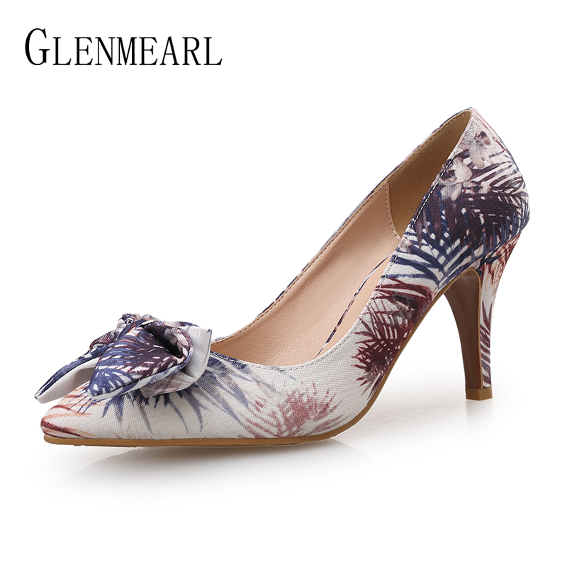 Women Pumps High Heels Wedding Shoes Slip On Butterfly-knot Shoes Female Thin Heel Pointed Toe Ladies Shoe Embroidered cloth DE foreada women shoes pumps genuine leather thin high heels elegant ladies office shoes 2018 bow knot pointed toe shoes female