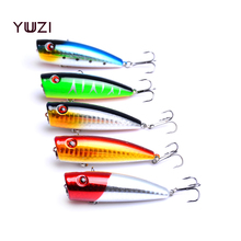 YUZI 50pcs 9g 7cm popper fishing lures top water baits ABS plastic hard wobble pike bass pesca tackles wholesale