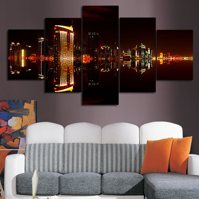5 Planes Wall Painting Pictures Dubai City Night Modern Paintings Modular Posters And Prints Art For Living Room