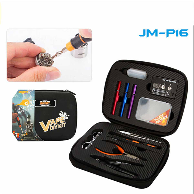 JAKEMY JM-P16 12 in 1 DIY Electronic Cigarette Kit Atomizer Coil Tool Bag Accessories Vape Hand Tool Set Screwdriver Plier Kit