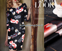 Designer 35 Natural Mulberry Silk 65 Woolen Clothing Fabric Silk Woolen Satin Pink Flower Cheongsam Dresses
