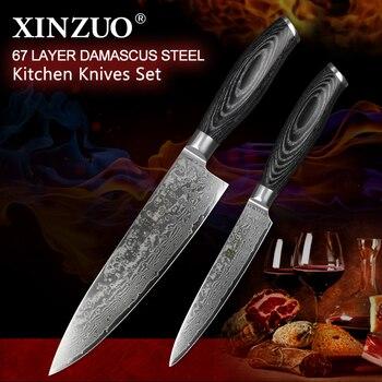 XINZUO 2 Pcs Pro Küche Messer Sets Damaskus Stahl Japan stil Küche Messer vg10 Chef Utility Messer Pakkawood Griff BBQ werkzeug