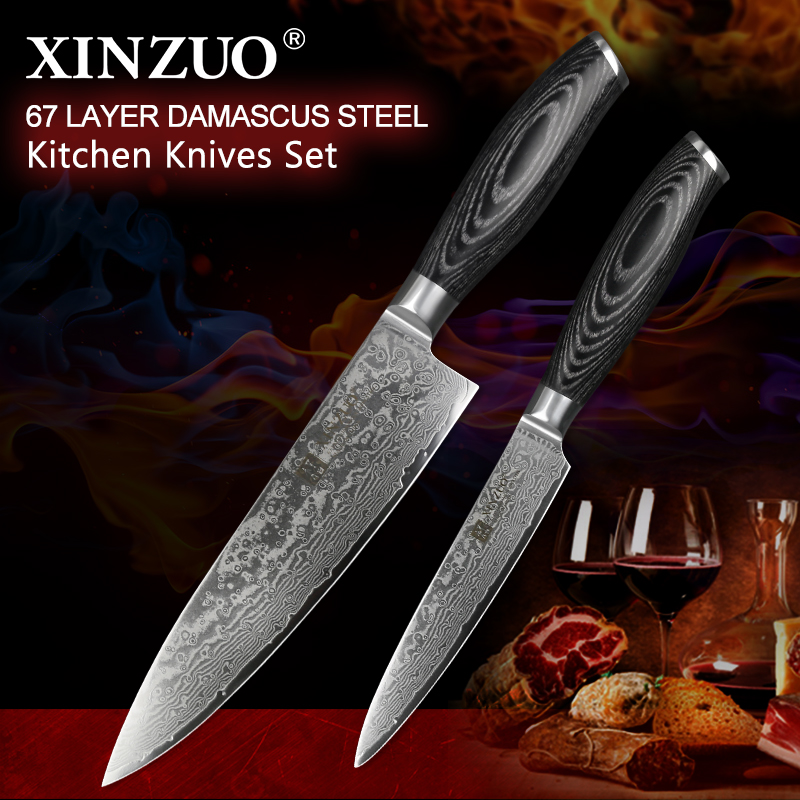 XINZUO 2 Pcs Pro Kitchen Knife Sets Damascus Steel Japan style Kitchen Knives vg10 Chef Utility Knives Pakkawood Handle BBQ ToolXINZUO 2 Pcs Pro Kitchen Knife Sets Damascus Steel Japan style Kitchen Knives vg10 Chef Utility Knives Pakkawood Handle BBQ Tool