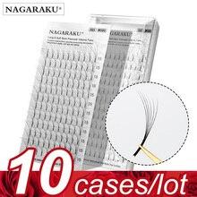 NAGARAKU extensiones de pestañas, 10 cajas por lote, 3D 6D, prefabricadas, voluminosas, rusas, color negro, visón falso, prémium