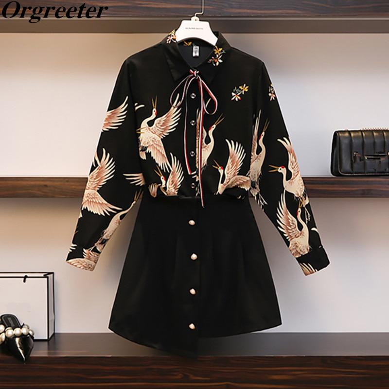 Plus Size L-4XL 2019 New Spring Summer Women's Long Sleeve Crane Print Shirt Blouse + High Waist Irregular Skirt Two Piece Sets