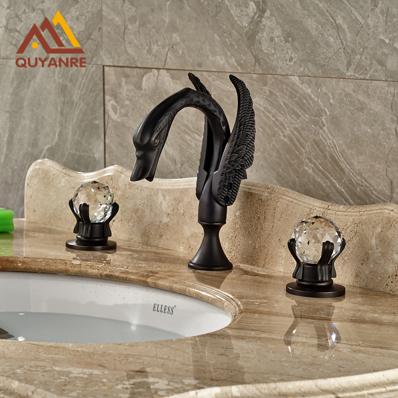 Swan Shape Dual Crystal Handles Bathroom Mixer Faucet Deck Mounted Sink Hot and Cold Tap Black Color elegant chorme bathroom faucet deck mounted shape faucet three handles mixer tap