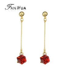 FANHUA Famous Brand Jewelry  Gold-Color With Long Square Colorful Crystal Dangle Earrings for Women Brincos