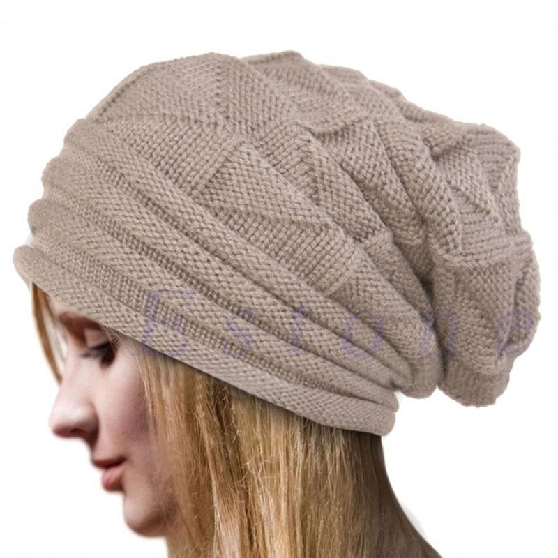 Baggy Pleated Slouchy Long Men Women Hat Ski Outdoor Knitted Beanie Winter Cap