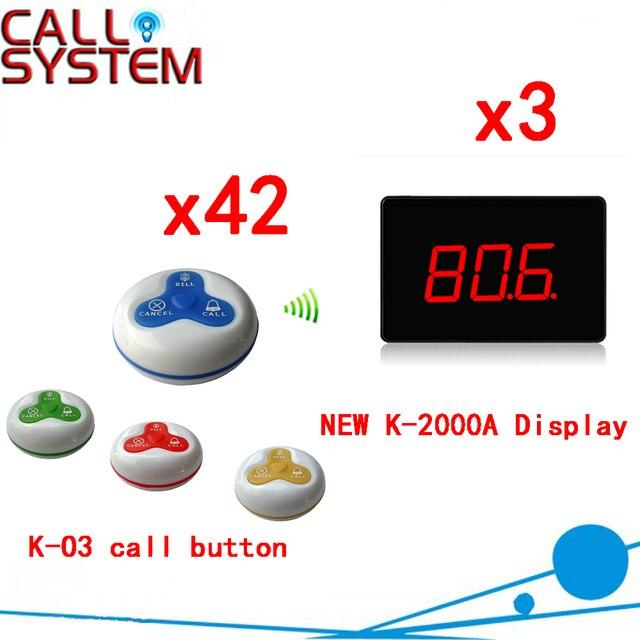 Беспроводная Система Пейджер 433.92 МГц Беспроводной Столика в ресторане Зуммер С Монитором И Смотреть Приемник (дисплей 3 + 42 кнопка вызова)