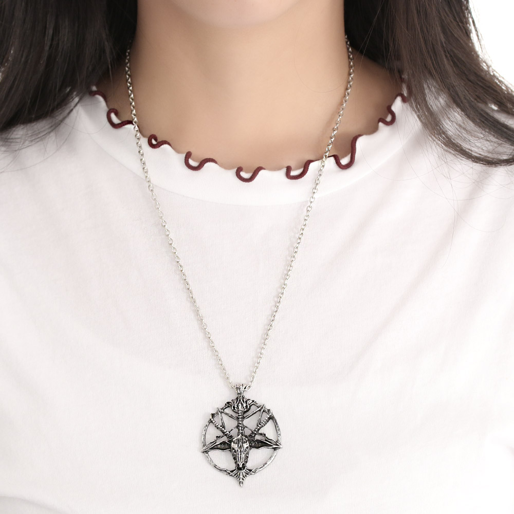 Satanic Goat Necklace Pentagram Skull with Chain 3