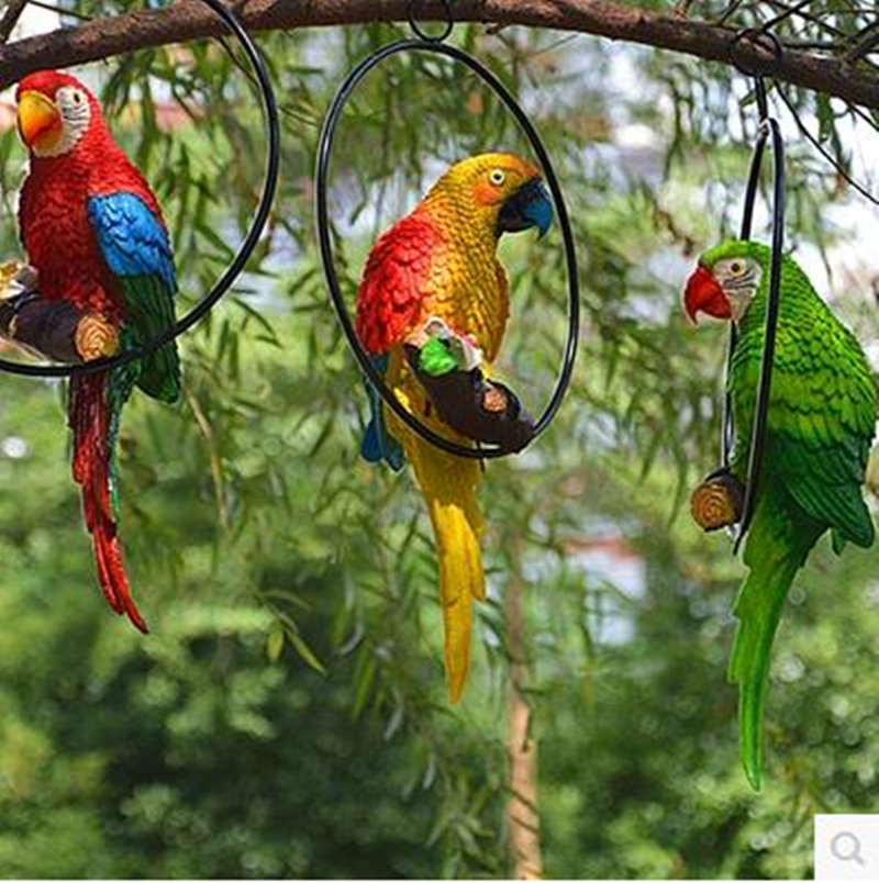 2017 simulation resin parrot and owl home decoration handicrafts, creative animal bird model, garden and wedding decoration gift