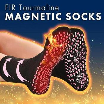 Tourmaline Self Heating Heated Socks For Women Mem Help Warm Cold Feet Comfort Health Heated Socks Magnetic Therapy Comfortable heating pads cold weather heated socks usb lithium battery cotton material leg warmers carbon fiber electric heated health care