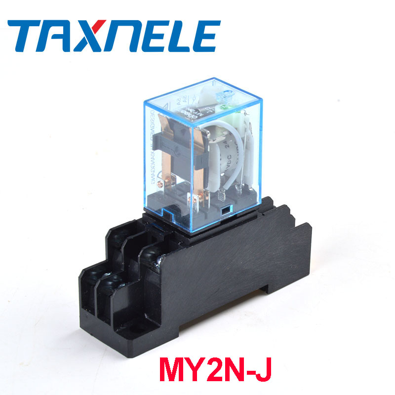 Electrical Equipments & Supplies 1set My4nj Dc12v Ac12v Dc24v Ac24v Coil 4no 4nc Relay Din Rail 14 Pin With Base Mini Relay Switch Micro Electromagnetic Relay