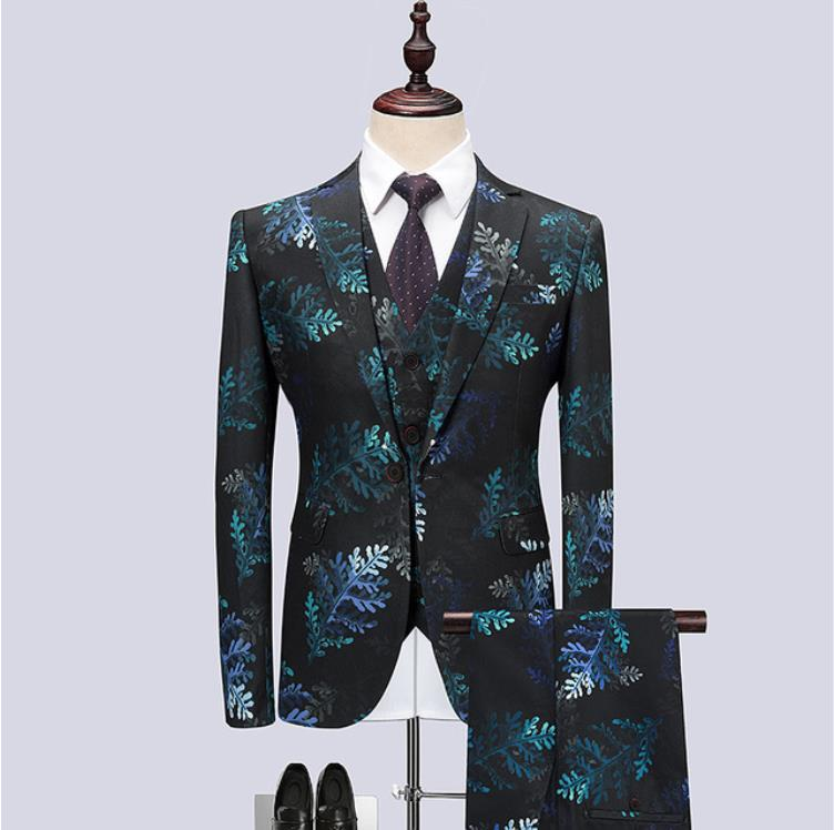 Tailor-made Men Suits Fashion Party Dresses Men's Slim Fit Business Men Printing Wedding Suit Groomsmen Best Man Costume Homme