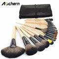 Aochern 24 Pcs Cabelo Sintético Pincéis de Maquiagem Cosméticos Brushes Set Foundatio Facial Kit Beleza Bags Set Com Bolsa De Couro