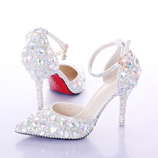2016 Verano zapatos de Tacón Alto de Las Mujeres Zapatos de Boda Blanco de Dos Piezas Del Hueco de Diamante Zapatos de Novia Zapatos de Cristal Pulsera de Colores de Cristal
