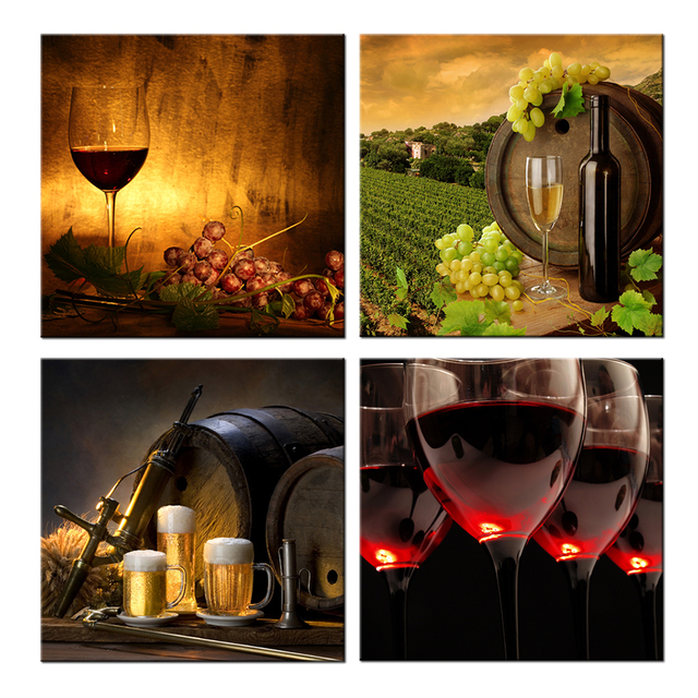 4 Piece Canvas Wall Art Wine Themed Prints Red Wine With Cups And ...