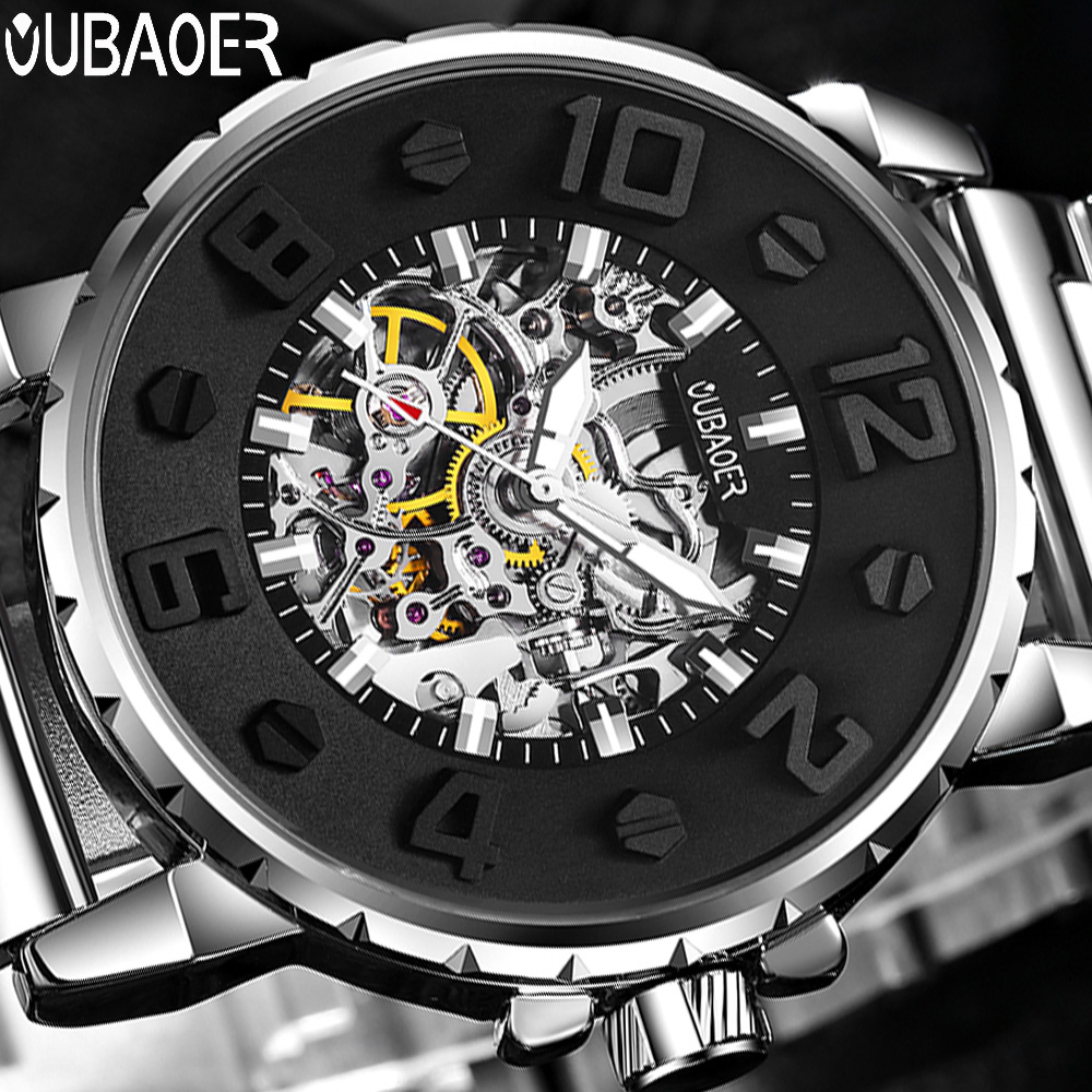 OUBAOER 3D Designer Automatic Mechanical Watch Men Top Brand Luxury Stainless Steel Sport Watches Relogio Masculino Men Watches unique smooth case pocket watch mechanical automatic watches with pendant chain necklace men women gift relogio de bolso