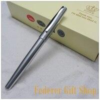 Duke D009 Stahl fall Geschenk Füllfederhalter F Nib Silber ink pen Nagelneu Mit Ordinary Geschenkbox