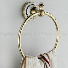 Luxury Gold Color Brass Towel Ring Holder Wall Mounted Bathroom Accessories Round Hanging Hanger zba252