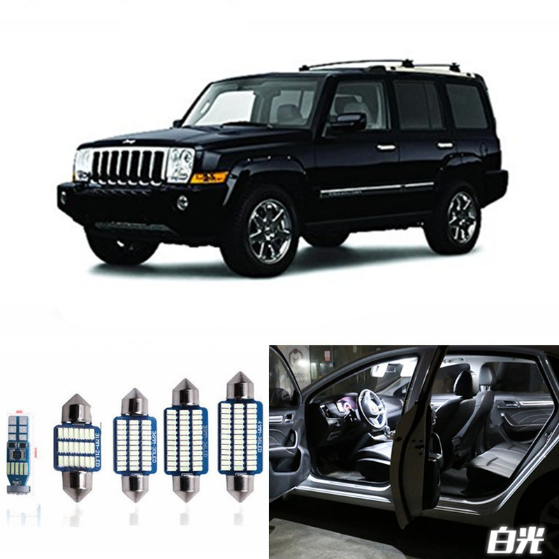 13pcs Canbus Car LED Light Bulbs Interior Package Kit For 2006-2010 Jeep Commander Map Dome Trunk License Plate Lamp White 13pcs canbus car led light bulbs interior package kit for 2006 2010 jeep commander map dome trunk license plate lamp white