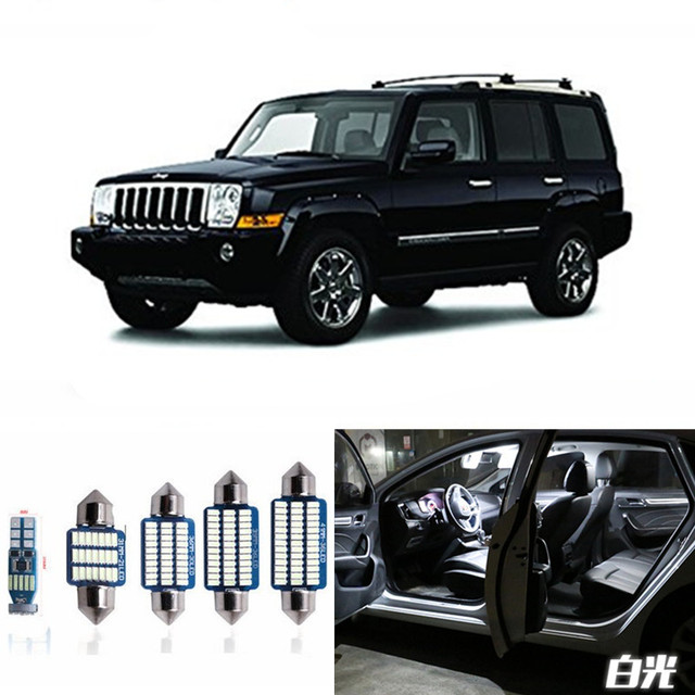 13pcs Canbus Car Led Light Bulbs Interior Package Kit For 2006 2010 Jeep Commander Map Dome Trunk License Plate Lamp White