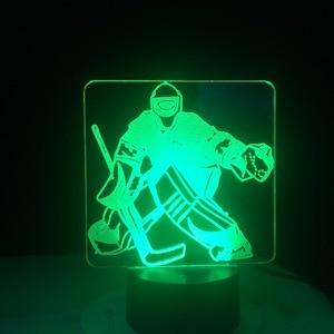 Image 4 - Eis Hockey Goalie 3D Modellierung Tisch Lampe 7 Farben Ändern LED Nachtlicht USB Schlafzimmer Schlaf Beleuchtung Sport Fans Geschenke Hause decor