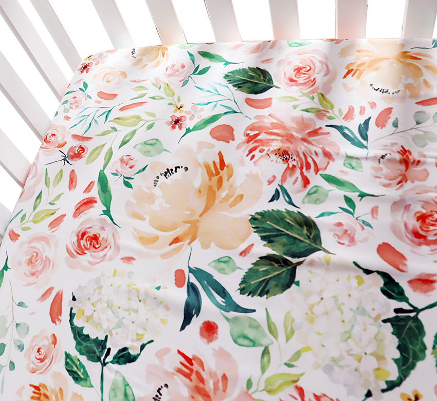 Baby Floral Fitted Crib Sheet Girl's Bed Newborn Sheet Mattresses Cover Fits Standard Crib 28*52*9 Inches  (Secret Garden)