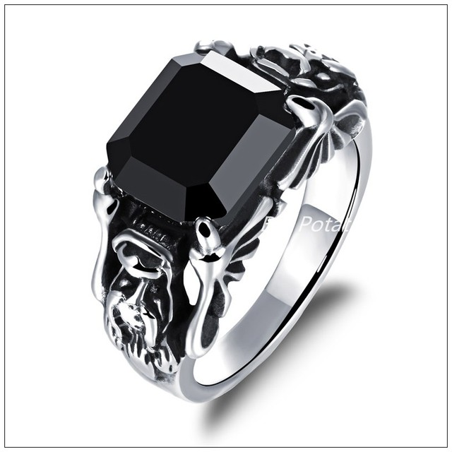 Fine Carving Womens Mens Biker Jewelry Silver Stainless Steel Black
