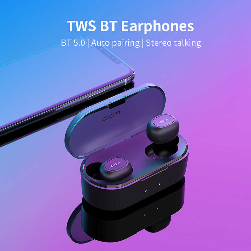 QCY QS2 Tws Mini Dual V5.0 Bluetooth Earphone True Wireless Headset 3D Suara Stereo Earbud Dual Microphone Pengisian Kotak