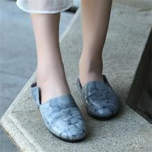 2016 Spring and Summer Vintage Women Slippers Genuine Leather Handmade Comfortable Flat Slippers Casual Women Sandals 006-9T