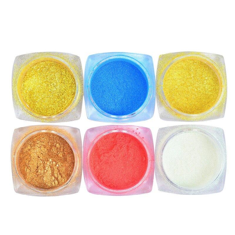 6 Colors Pastel Nail Art Glitter Sugar Powder Fine Dust Shining Pigment DIY Decor Flakes Mermaid Design Set