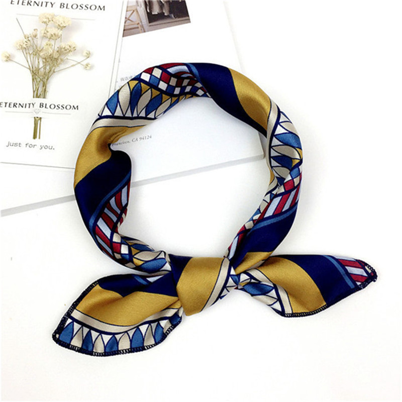 Elegant Head Neck Scarf Silk Feel Satin  Square Skinny Small Vintage Hair Tie Band Multi-Color Hair Accessories Gifts