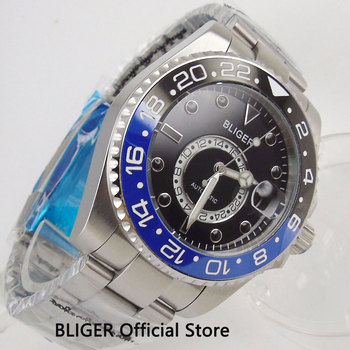 Special Design Luxury BLIGER 43MM Automatic Men's Watch Ceramic Bezel  Date GMT Indicator Sapphire Automatic Movement