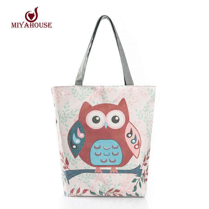 Floral And Owl Printed  Women's Casual Tote Female Daily Use Female Shopping Bag Ladies Single Shoulder Handbag Simple Beach Bag