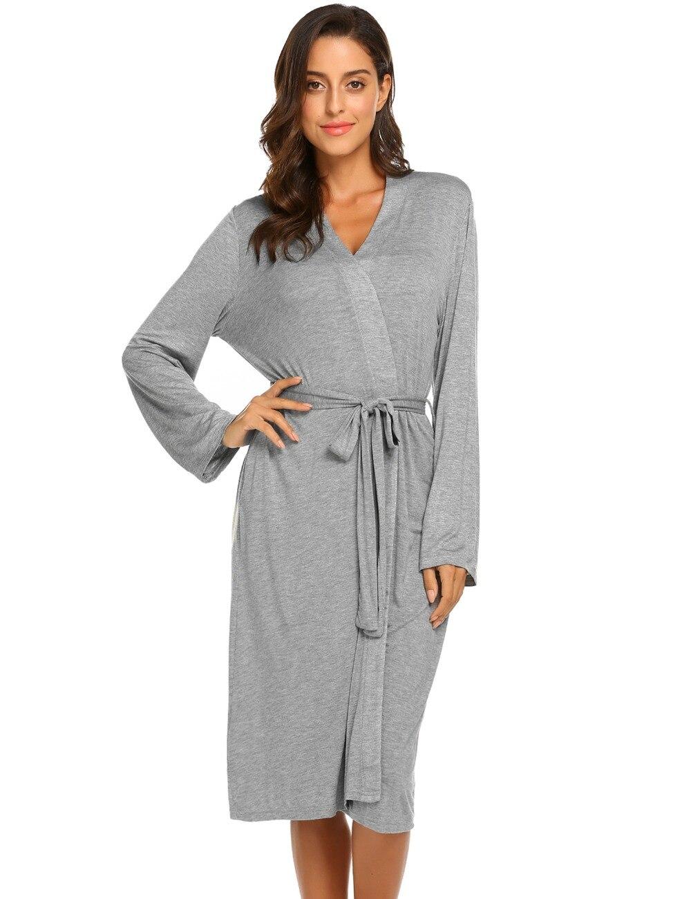 c2cf8868a2 Ekouaer Women Sleep Robes Nighties Long Sleeve Solid Kimono Robe Nightgown  Spa Bathrobe Sleepwear Dressing Gown Female Homewear