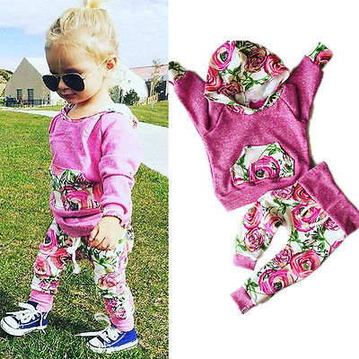 Toddler Baby Girls Long Sleeve T-shirt+Pants Outfits 2PCS Hooded Clothes Sets
